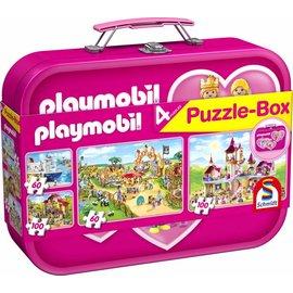 Schmidt Playmobil, Puzzle-Box rose, 2x60, 2x100 stukjes