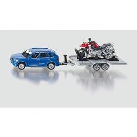 Siku 1:50 Auto met aanhanger en motor