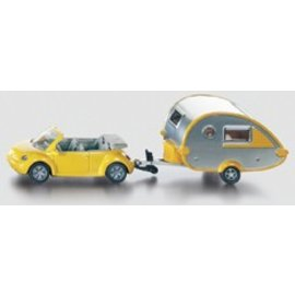 Siku VW New Beetle met caravan
