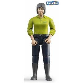 Bruder BF60405 - Speelfiguur vrouw: blank, grijs, donkerblauwe jeans