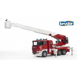 Bruder BF3590 - Scania brandweer ladderwagen met waterpomp, licht & geluid