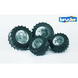 Bruder BF3317 - Dubbellucht wielenset zilver (3080+3084+3086)