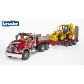 Bruder BF2813 - Mack Granite met dieplader en JCB tractor
