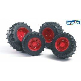 Bruder BF3313 - Dubbellucht wielenset rood