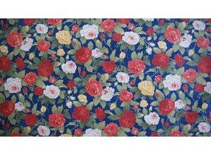 Sevenberry Donkerblauwe ondergrond met middelgrote roosjes