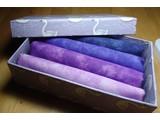 cadeaudoosje met stof in lila/paars/blauw
