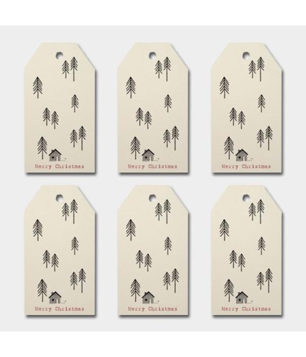 East of India Labels - tree - creme