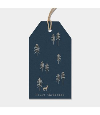 East of India Labels - tree - Blue
