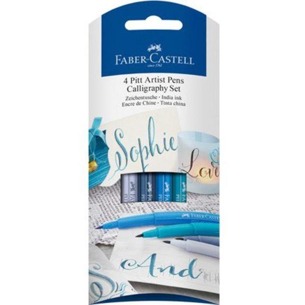 Faber Castell -  4 pitt Artist Calligraphy  Pens - Blue