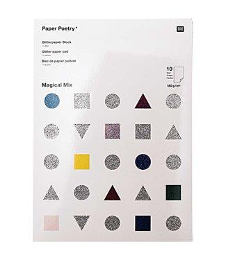 Glitter - papierblok - magical mix