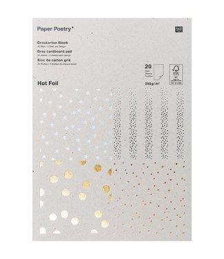 Papierblok - Grijs karton - Foil - FSC - Mix