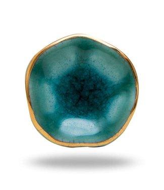 Knop - Ceramic  Turquoise/Golden