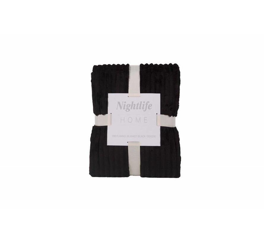 Woondeken Flanel Rib Zwart 150x200