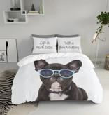 Nightlife Blue Dekbedovertrek French Bulldog