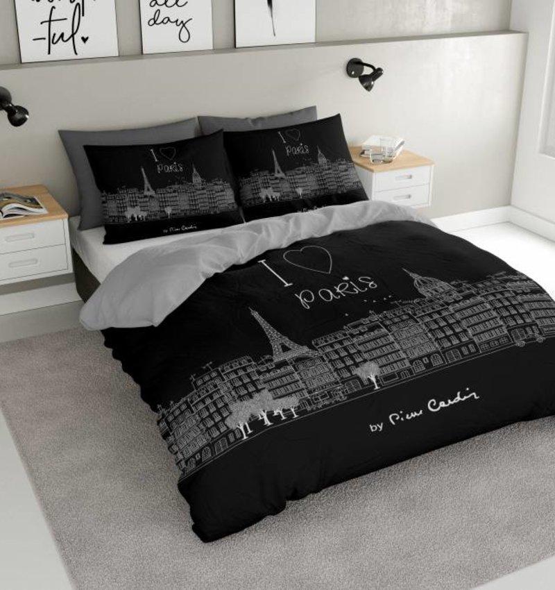 Pierre Cardin Dekbedovertrek I Love Paris Zwart