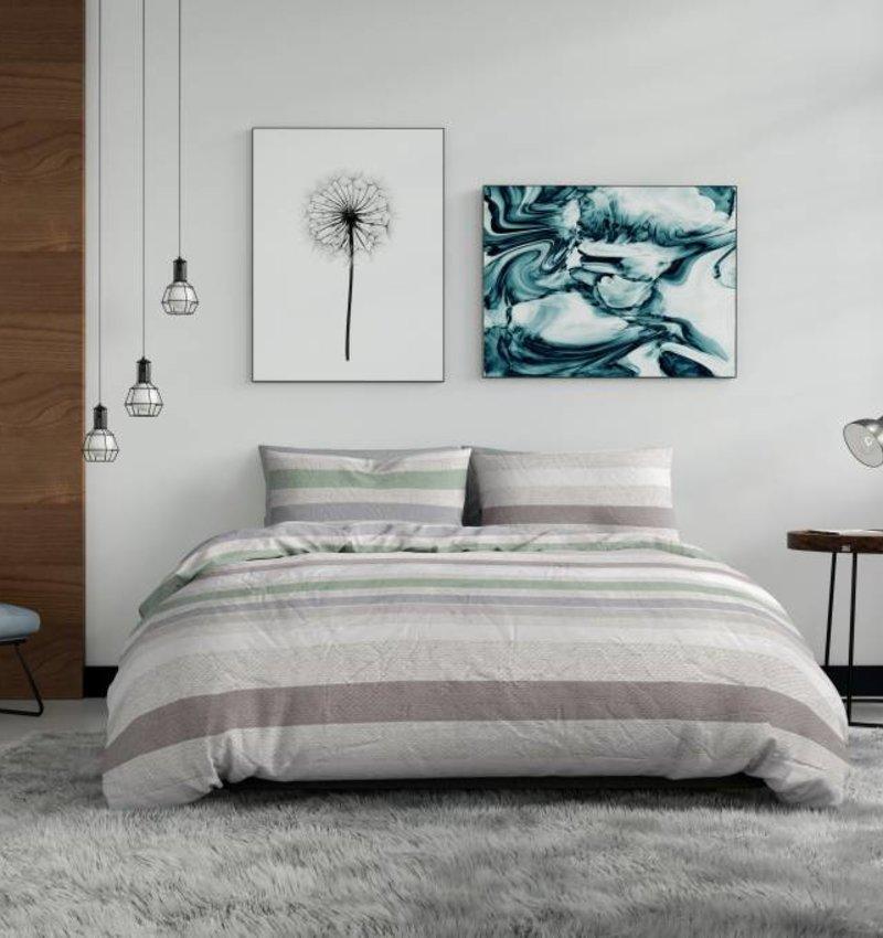 Nightlife Wake Up Dekbedovertrek Pastel Stripe Groen