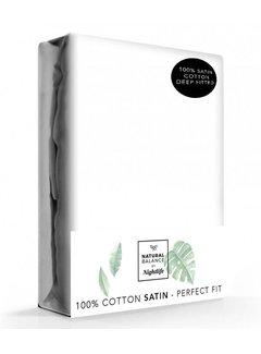 Verkoelende hoeslaken katoen - satijn Wit