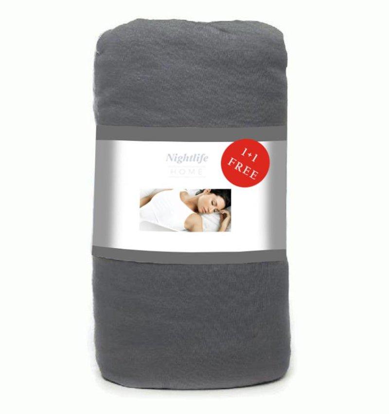 Wake-Up! Bedding Antraciet Jersey Hoeslaken 1+1 gratis