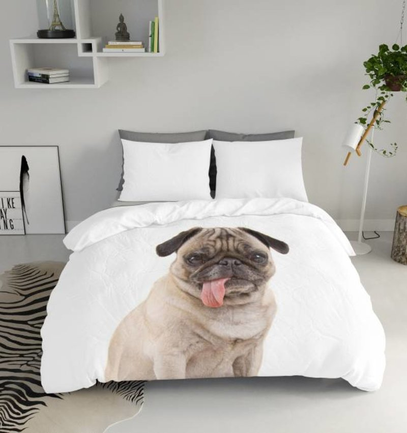 Nightlife Blue Dekbedovertrek Pug