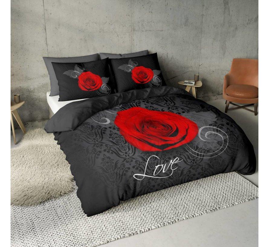 Dekbedovertrek Roos met Barok Zwart en Rood