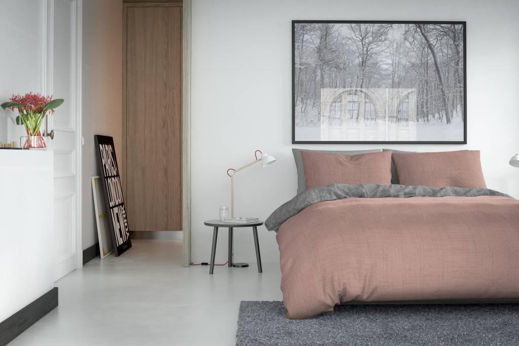 Licht Roze Dekbedovertrek : Dekbedovertrek washcotton zacht roze grijs nightlifeliving