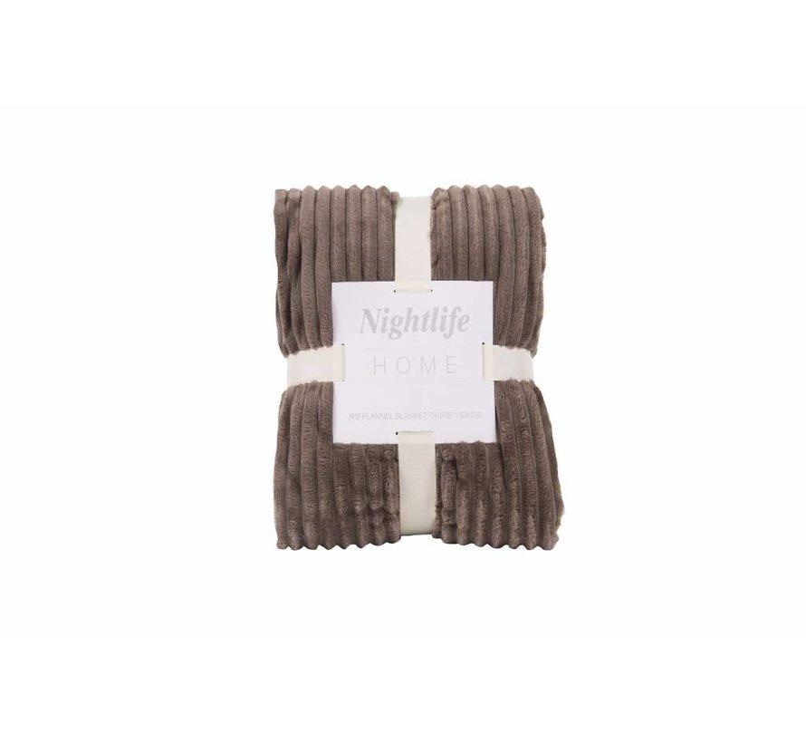 Woondeken Flanel Rib Taupe 150x200
