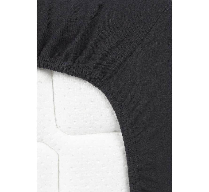 Hoeslaken Dubbel Jersey Interlock Zwart