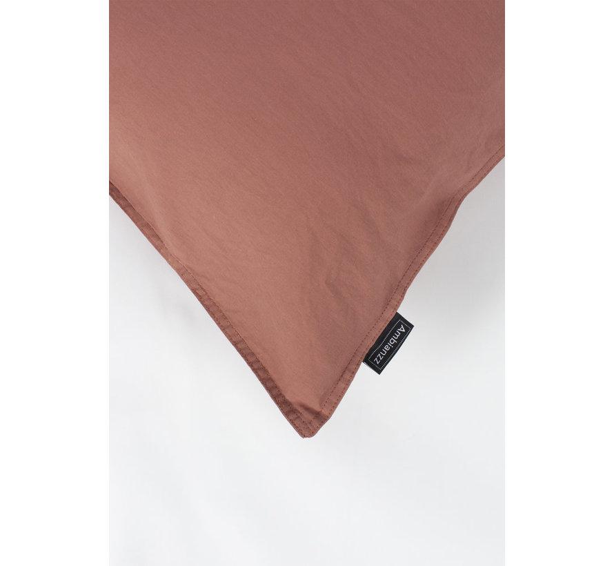 Kussenslopen - Vintage washed linnen katoen Steenrood  (per 2 verpakt)