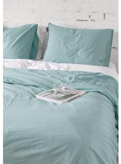 Ambianzz Dekbedovertrek - Vintage washed linnen katoen grijsblauw