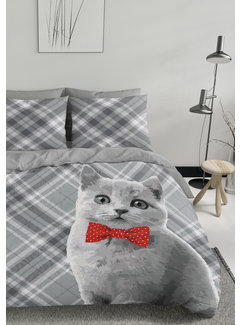 Nightlife Dekbedovertrek - Kat met strik