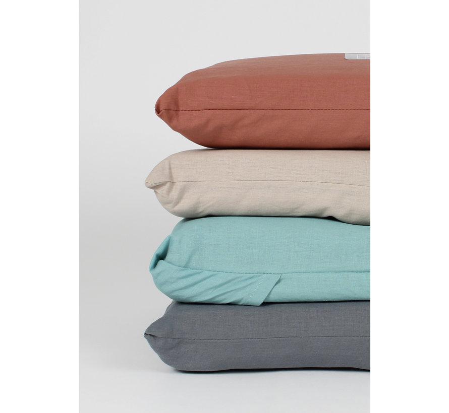 Kussenslopen - Vintage washed linnen katoen Steenrood (per 2 verpakt) 2x 60x70 cm 2x 60x70 cm