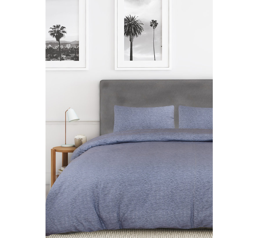 Dekbedovertrek Melange Uni Blauw Lits-Jumeaux [240x200/220] 2x 60x70 slopen
