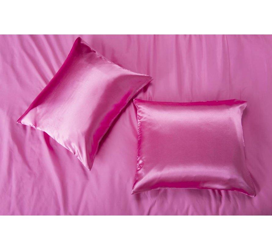 Satin pillow case Hot Pink