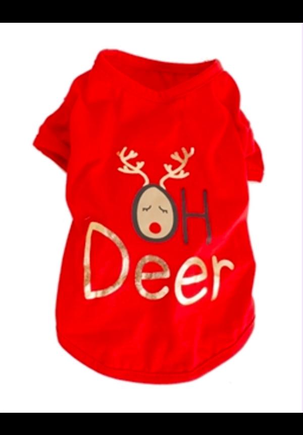 Honden Kerst T-shirt Oh Deer
