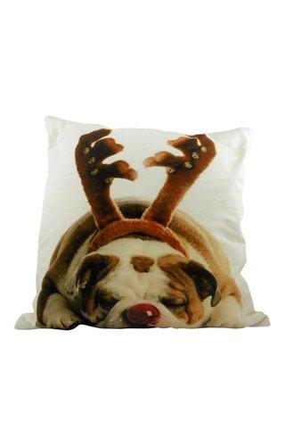 Sierkussen Kerst Engelse Bulldog Gewei