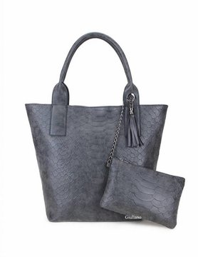 Artificial leather shopper | Croco