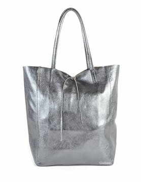 Lederen shopper | Metallic