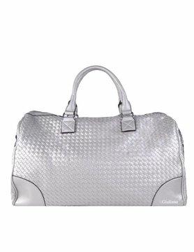 Artificial leather weekend bag | Braided - Metallic
