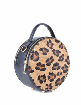 Leather handbag | Round | Cowhide | Print