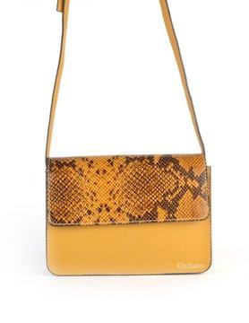 Leather shoulderbag | Snake flap