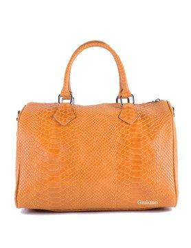 Leather croco bowlingbag