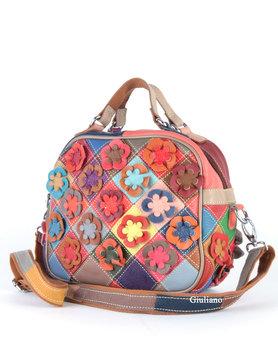 Leather handbag    Flowers