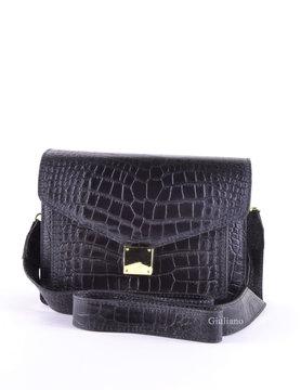 Leather shoulderbag   croco
