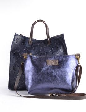 Leather handbag  | metallic