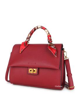 Artificial leather handbag | Scarf
