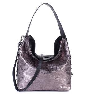 Artificial leather handbag | Metallic | Chain