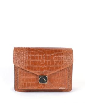 Leather shoulderbag | croco