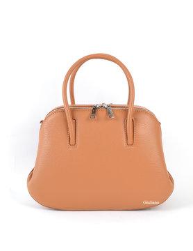 Leather handbag| Double zipper
