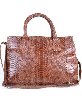Leather handbag |Croco