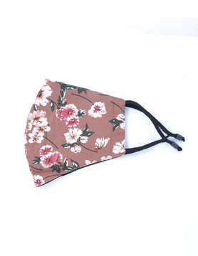 Fabric Face Masks   Taupe with Flowers